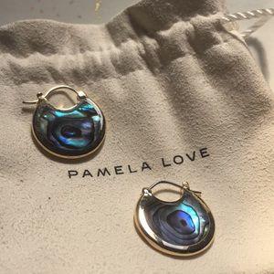 Pamela Love abalone brass Mojave Hoops